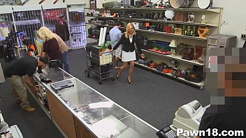 light-haired cougar inhales in pawn supermarket