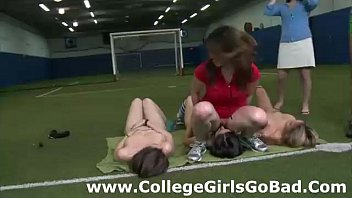 Sorority amateur girls lick pussy at college