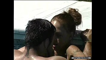 Brunette MILF with small tits gets fucked in the pool