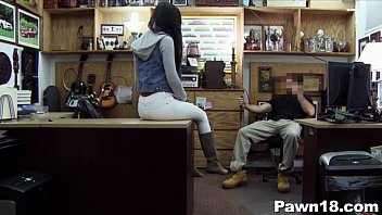 jaw-dropping dark-hued teenager in pawn store