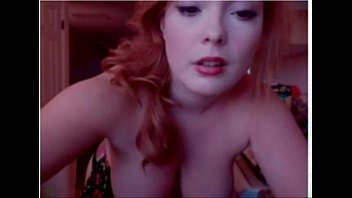 sizzling red-haired with xxl milk cans on webcam.