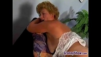 round grandmother screwing on the couch
