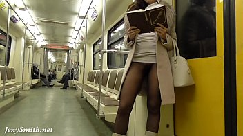 jeny smith seamless stocking subway snatch.