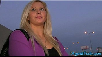 Blonde amateur Sabina pounded in public and cum facialed
