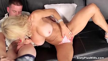 meaty-titted silver-blonde gets her older vag.