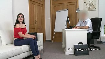 Brunette amateur riding on casting couch