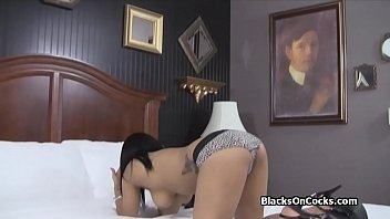 buxom ebony fledgling blows on camera