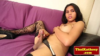 thick-boobed unexperienced shemale in stocking solo.