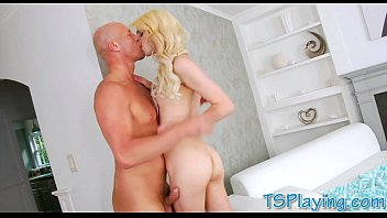 Skinny blond shemale Holly Parker gets her ass ripped