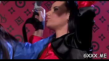 Hot elegant lesbian screech it out with a big toy on muff