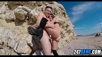 Babe gets fucked on a public beach 7