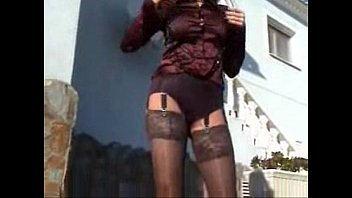 Mature satin outdoor / Horny mature in heels and nylons