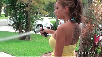 hefty-titted latina siren washing the camper in her.