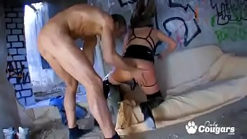 halana k glides her gstring to the side.