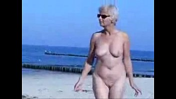 Granny totally nude at beach