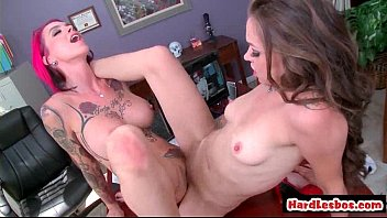 blond and brown-haired lesbos probe each others good-sized.