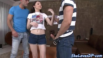 dual poked teenager stunner gets facialized