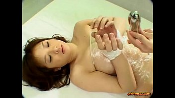 humungous-titted chinese chick bondaged getting her furry muff.