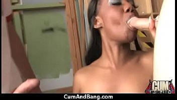 Busty Ebony Whore Gangbanged And Covered In Cum 27
