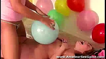 Lesbian group fun in amateur party game