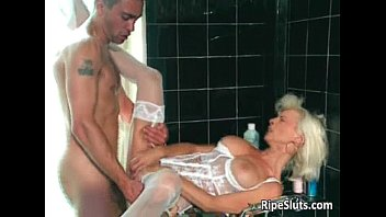 uber-sexy mature silver-blonde gets pierced